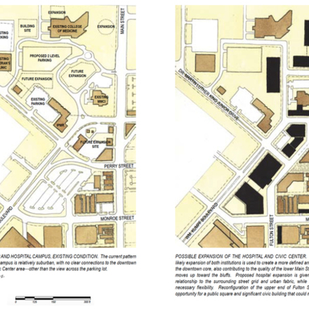 Large consider hospital campus expansion and lower main street corridor improvements plan