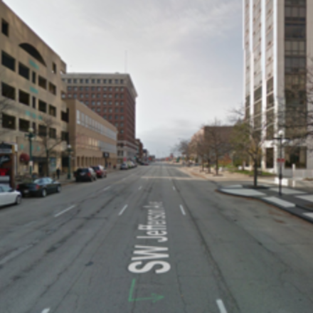 Large reconfigure jefferson street for two way traffic with on street parking
