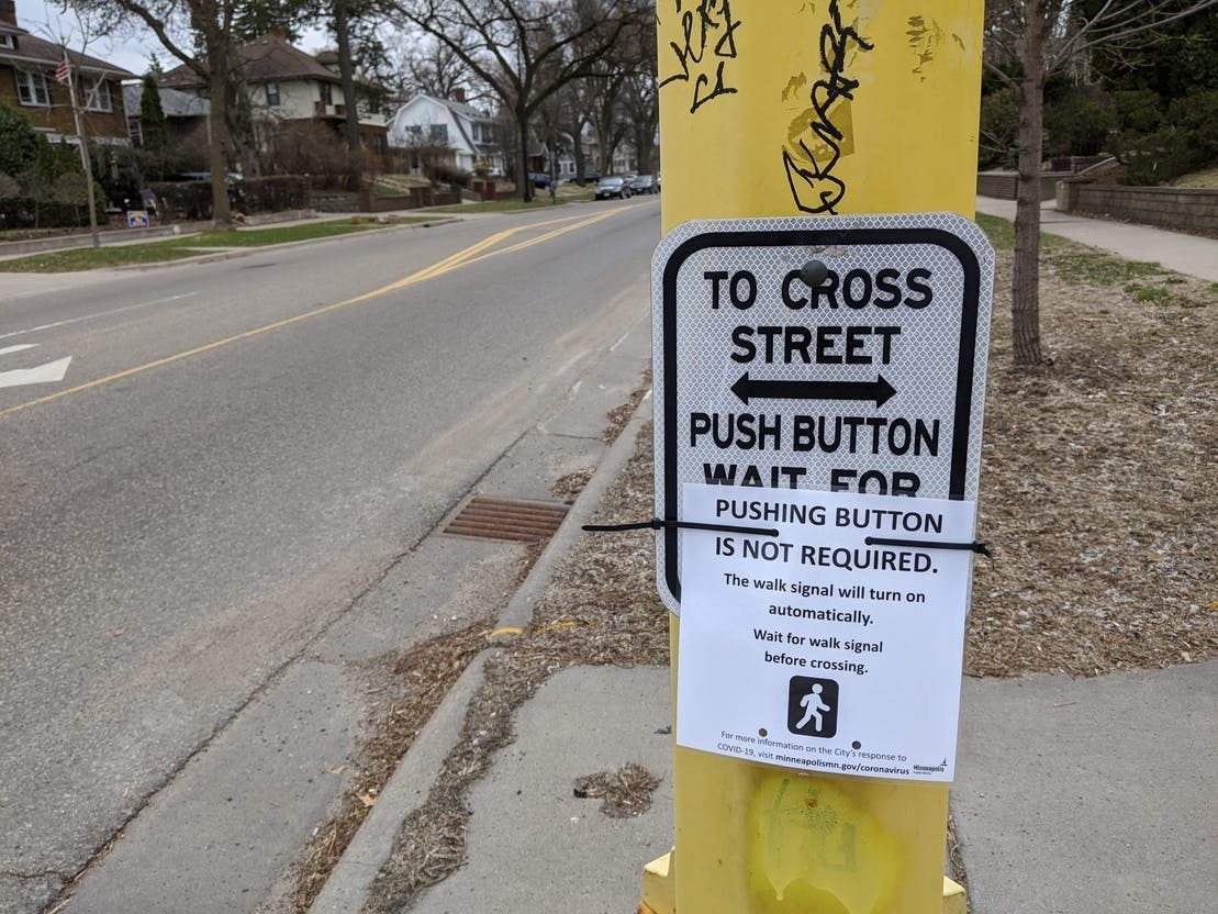 Permanently remove beg buttons at crosswalks to improve walkability & prevent spread of COVID-19