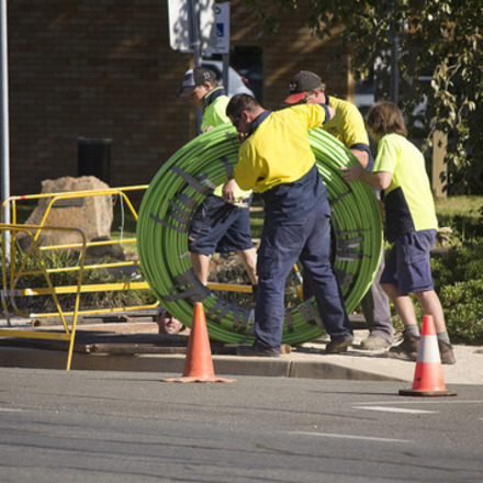 Large nbn co fibre optic cable being laid in tarcutta st in wagga  6