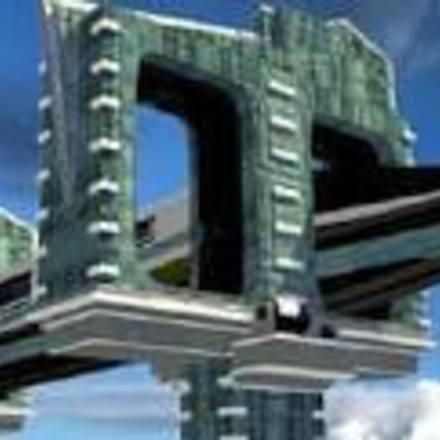 Large futuristic overhead train tracks