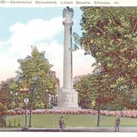Large postcard chicago logan square centennial monument 1920s