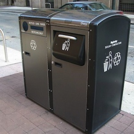 Large solar powered bin