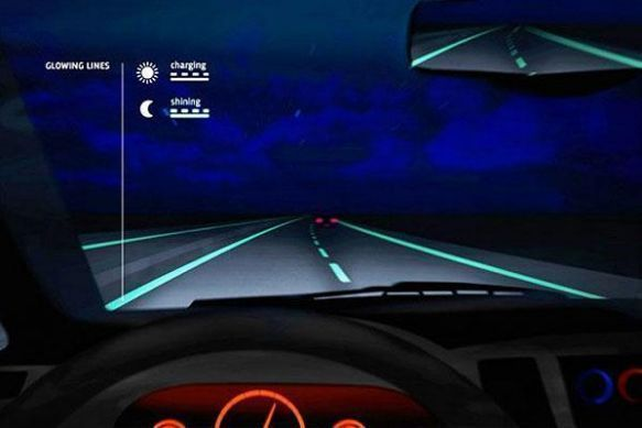 Glow-in-the-dark roads mean safer driving