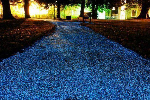 Glow-in-the-dark bike lanes and bike trails