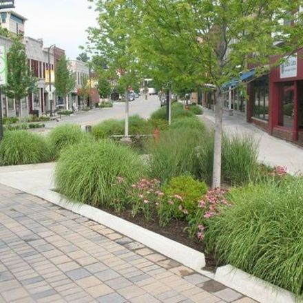 Large streetscape landscaping