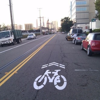 Sharrows (on street bike symbol)